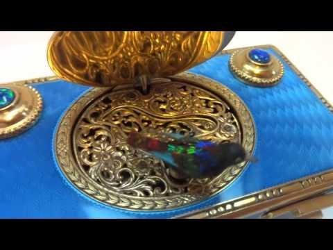 Antique sterling silver, enamel singing bird box