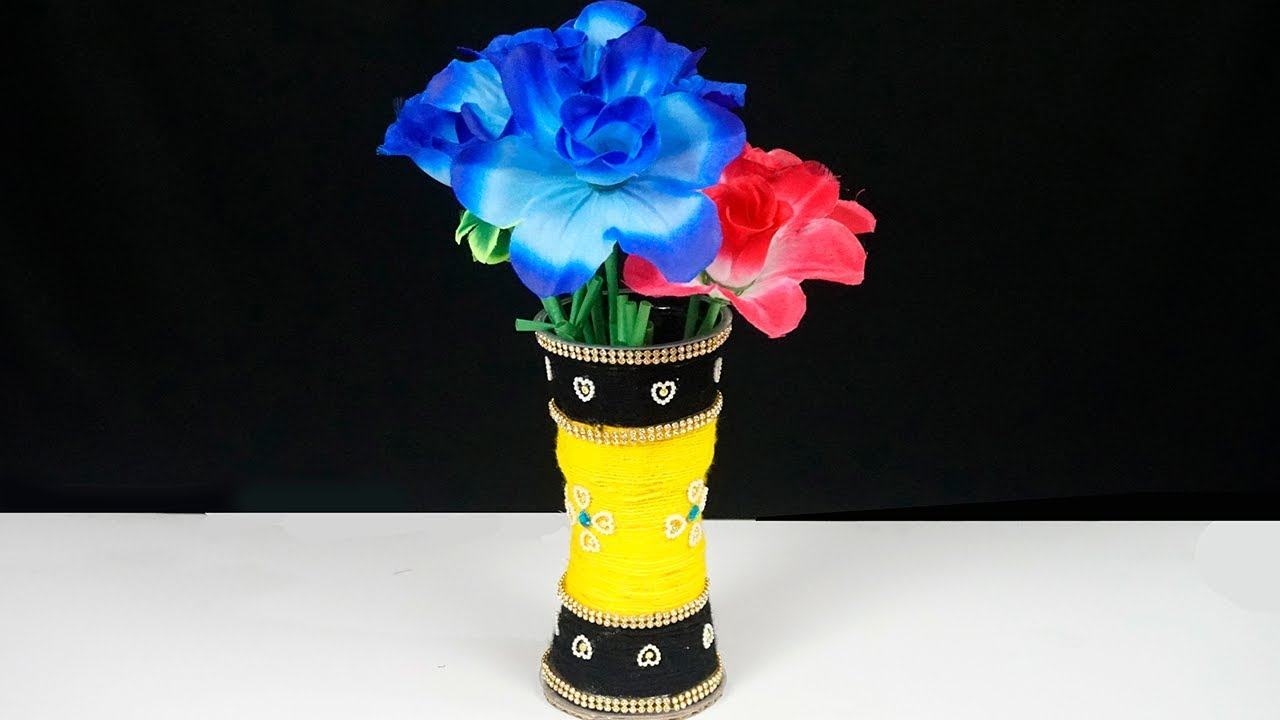YouTube & Plastic Glass Reuse Ideas   How to Make Flower Vase with Plastic Glasses   Best Out of Waste