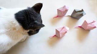 Origami Mouse for Your Cat -Ratón de papel para tu gato