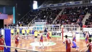 Russian youth volleyball team warming up before the game