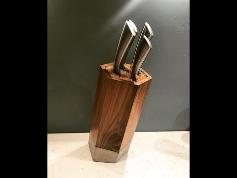 Walnut Concrete Bamboo Knife Block