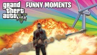 GTA 5 Funny Moments! - Windmill Battles, Rocket Dodging, Invincible Falling