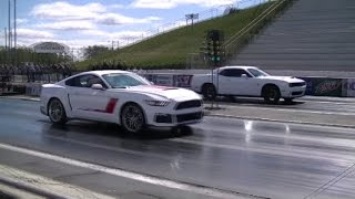 Dodge Challenger Hellcat vs Mustang ROUSH Stage 3, 1/4 Mile Shootout