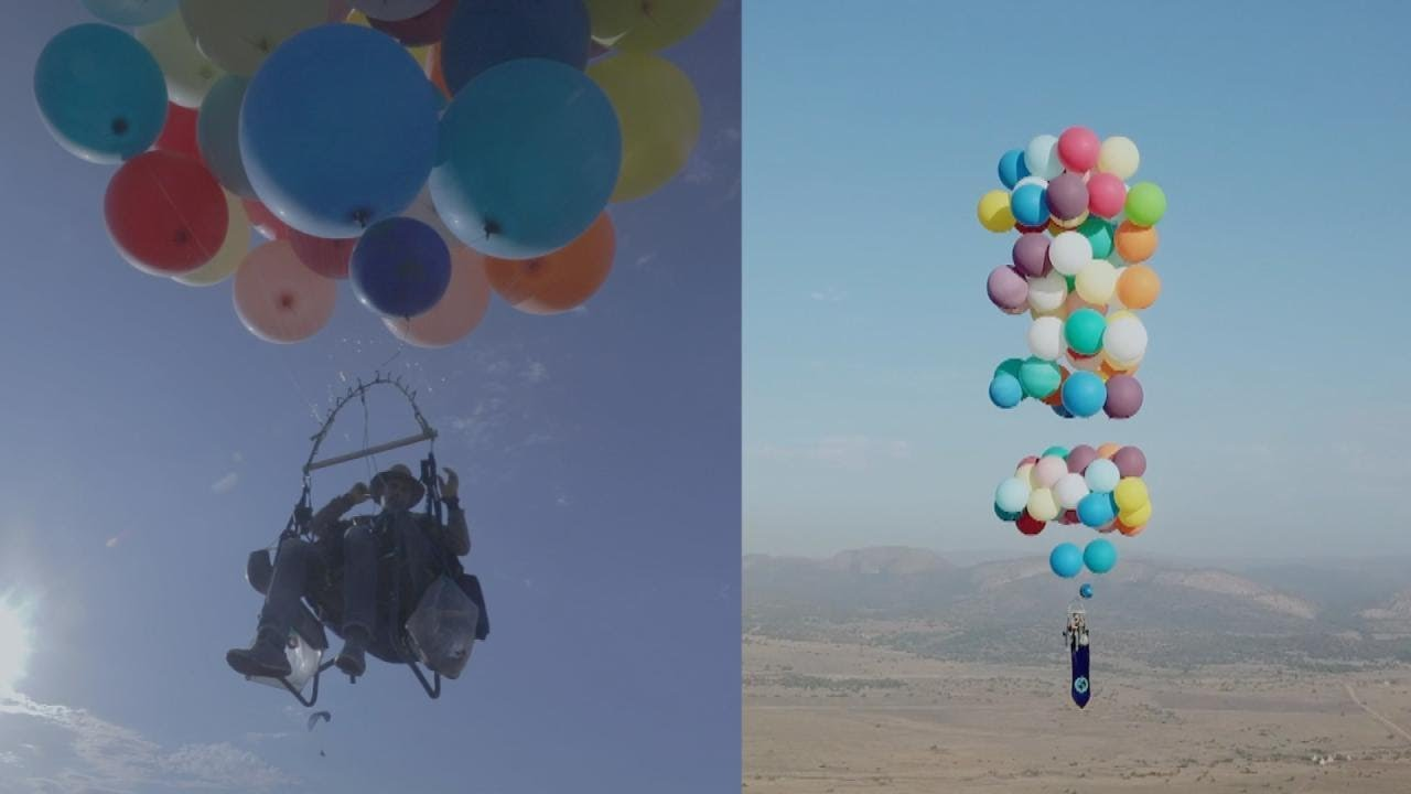 chair with balloons steel adirondack 100 helium carry man in lawn for 15 miles youtube