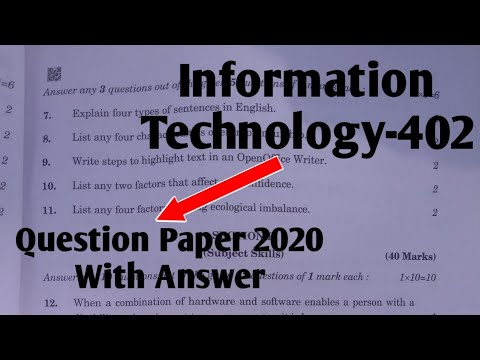 Information Technology Question Paper With Answer || Class 10 IT-402 Question Paper 2020 Answer key