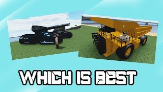 Exoniphic MK1 and Mining Dumping truck, which it's best? | Roblox car crusher 2