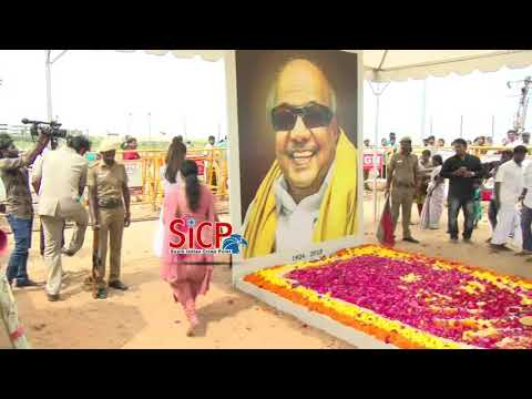 Trisha paid floral tributes at 'Kalaignar' Memorial Exclusive | sicp