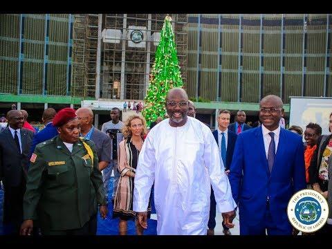 President Weah Lights Christmas Tree; Bids Liberians Festive Celebration of the Seasons