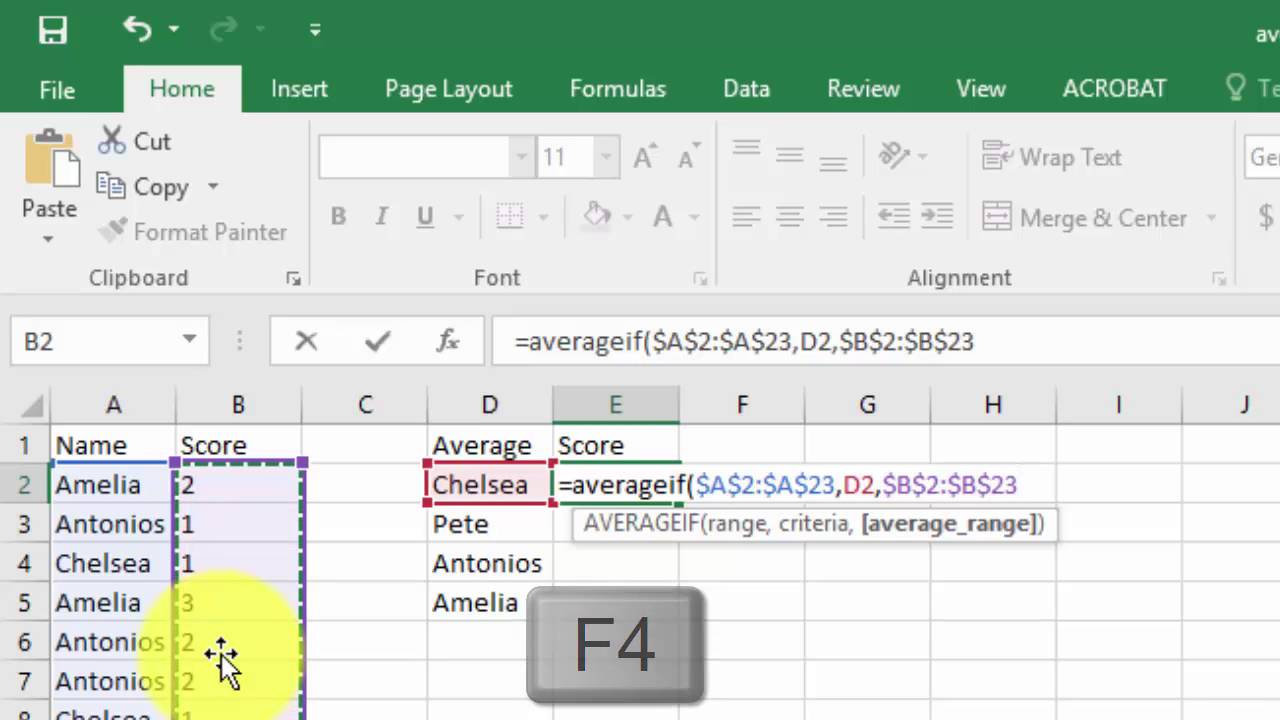 how to make a score count in excel
