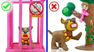 SUPERHERO BABY CATCHING WILD DOG 💖 Play Doh Cartoons Animation