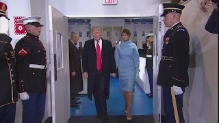 President Donald Trump arrives at White House