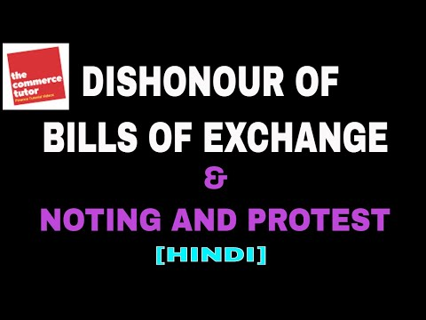 Dishonour of Bills of Exchange, Noting & Protest explained in Hindi