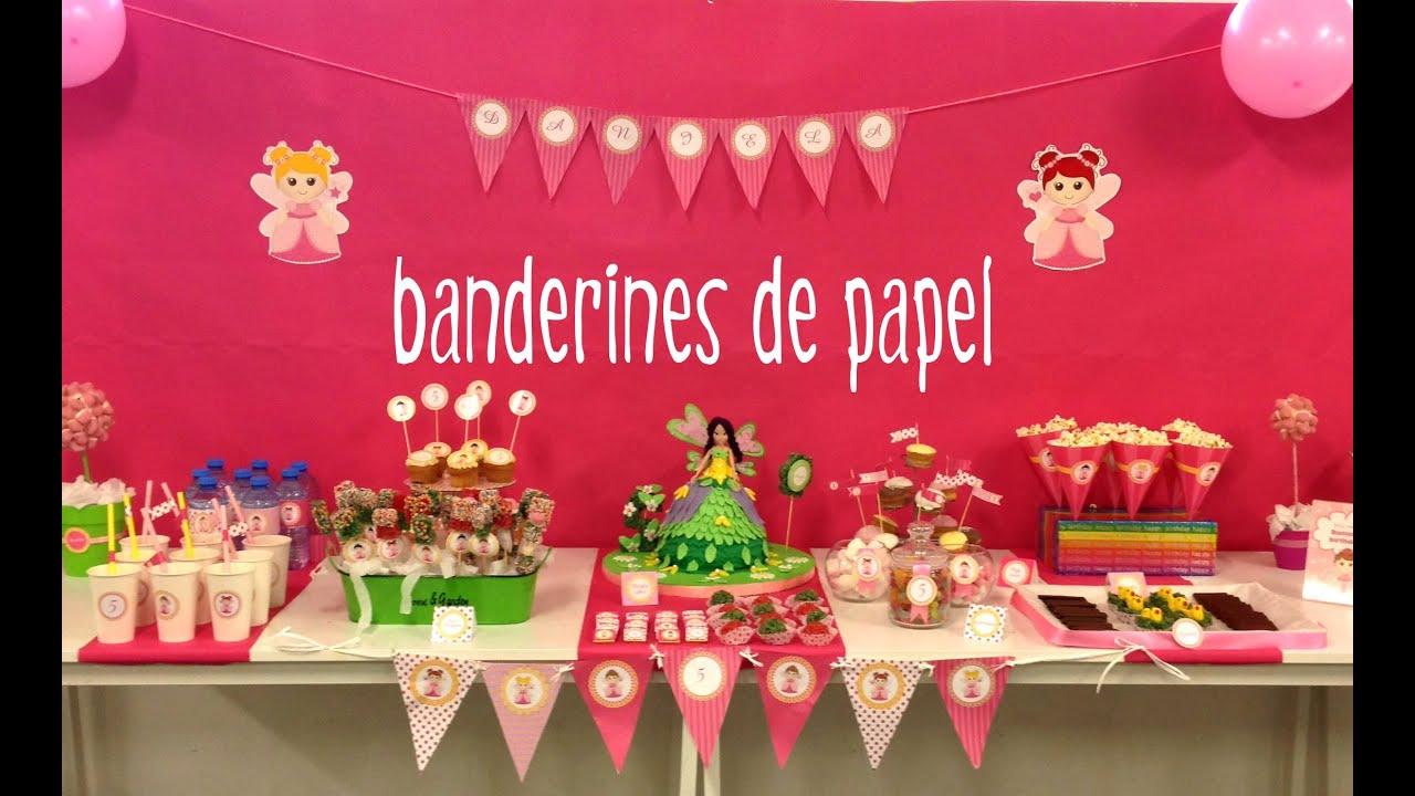 Decoracin de fiestas infantiles Banderines de papel para