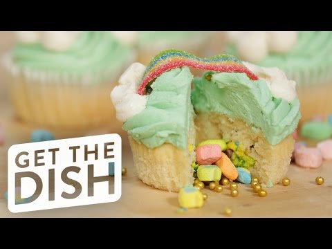 Surprise-Inside Lucky Charms Cupcakes | Get the Dish