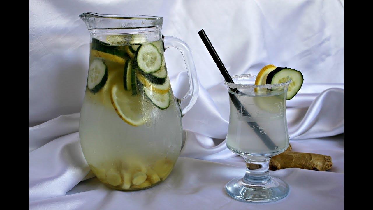 Agua con jengibre limon pepino y canela