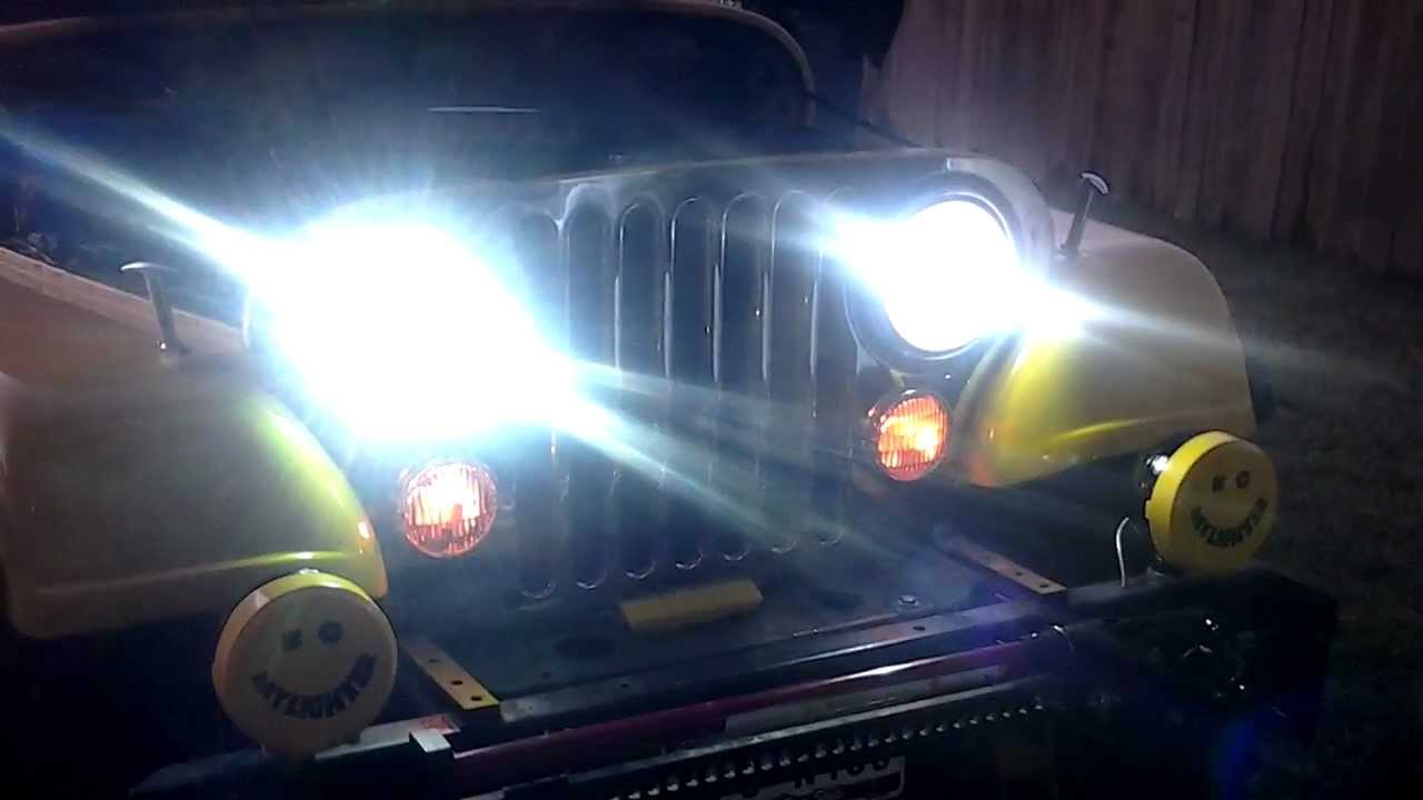 Jeep Led Headlights >> Cj7 jeep hid install (xenon) - YouTube