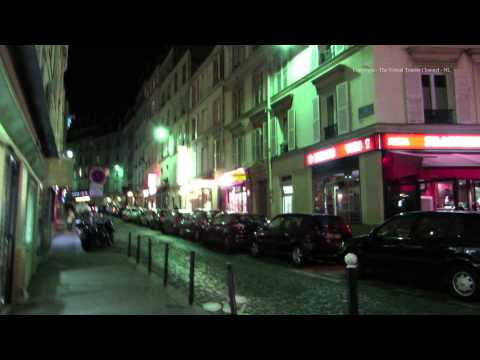 Paris at Night Cafes and shops in the Montmartre district in Paris 7