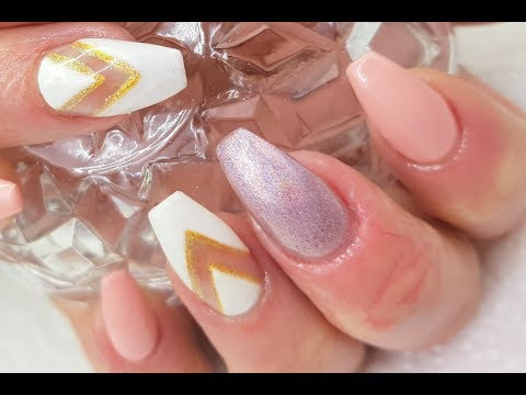 Acrylic Nails Easy White & Pink Chevron Design