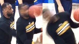 LeBron James Gets Hit in the Face With a Basketball