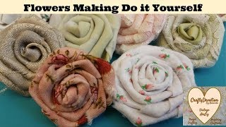 Folded Rose Diy, Fabric Flower Tutorial, fabric rose,  Shabby Chic flower, no sew rose