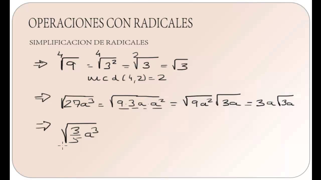 SIMPLIFICACION DE RADICALES - YouTube