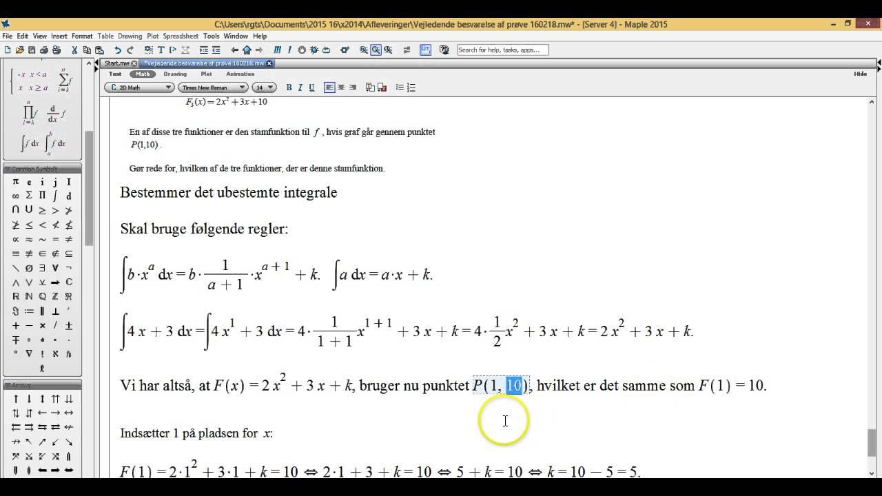 Ubestemt integrale gennem et punkt