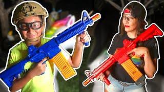 Family Backyard Battle with CO2 Powered Nerf Guns   REKT CO2 Powered Dart Launchers by Umarex