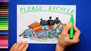 How to draw and color garbage dump - Please recycle