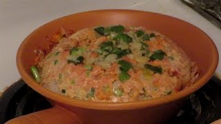 Steamed Salmon Claypot Rice  (Chinese Hot Pot)  Traditional Chinese Cooking
