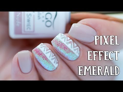 Easy Aztec Nail Art | PIXEL EFFECT Emerald by Indigo Nails