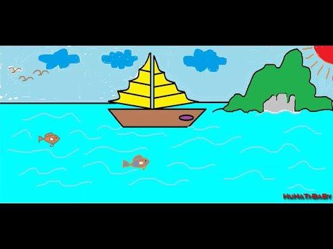 Vẽ Con Thuyền - Vẽ Tranh Bãi Biển Mùa hè trong mơ Đẹp Nhất - (Drow boat and coloring)