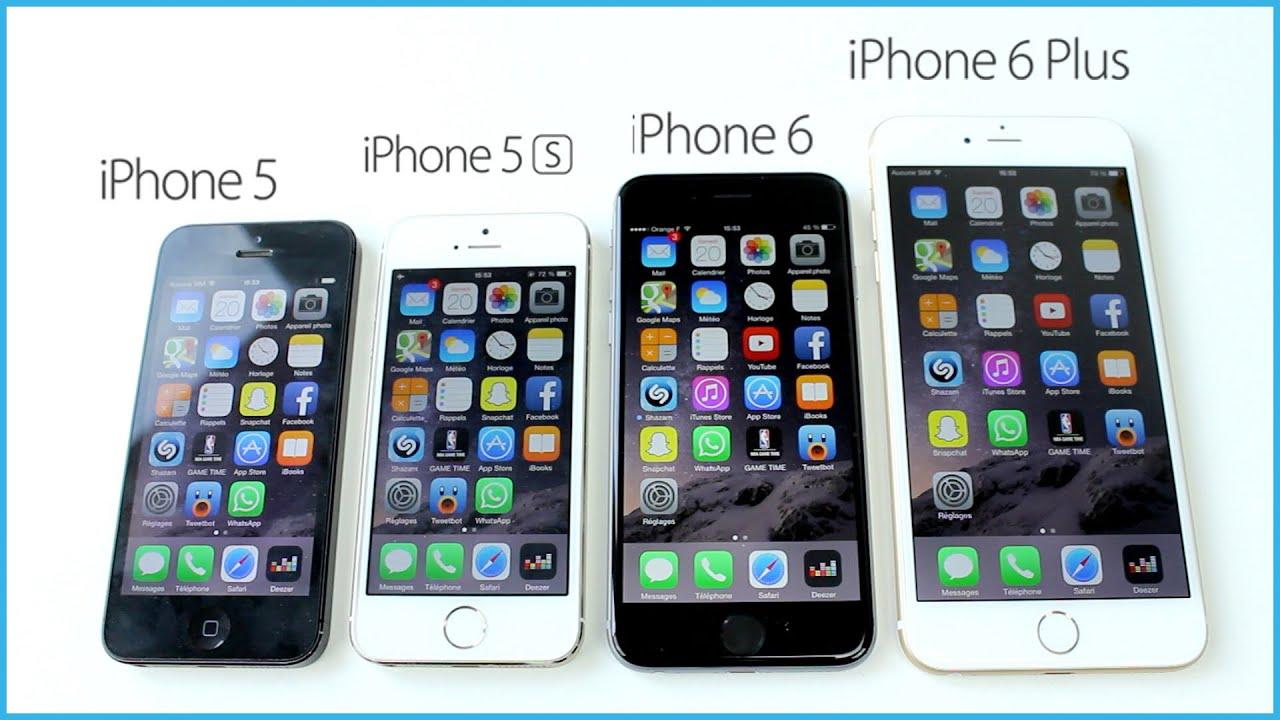 comparaison iphone 6 plus vs iphone 6 vs iphone 5s vs iphone 5 5c vs iphone 4s vs iphone 4