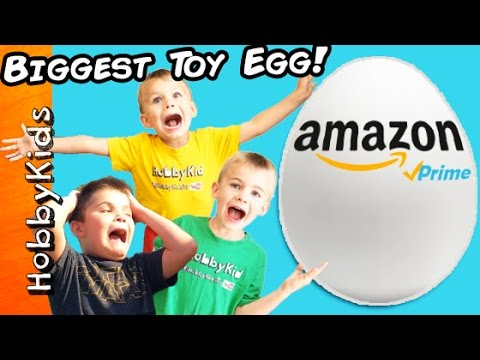 Giant AMAZON TOYS Surprise Egg full of Toys with HobbyKids
