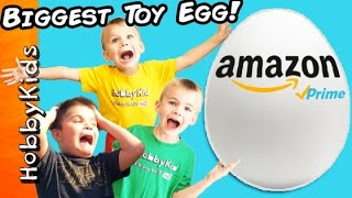 World's Biggest AMAZON TOYS Surprise Egg! Batman + Bubble Blaster Family Fun HobbyKidsTV