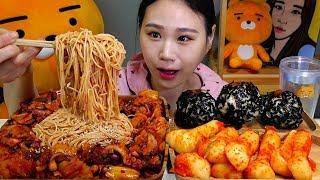 낙지볶음에 소면사리 주먹밥 총각김치 먹방 Mukbang