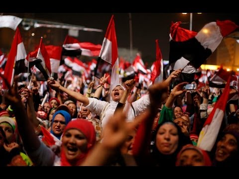 Protesters erupt in joy as Egypt army ousts Mohamed Morsi - no comment