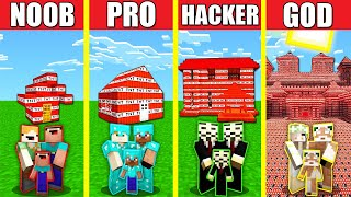 Minecraft Battle: FAMILY TNT BLOCK HOUSE BUILD CHALLENGE - NOOB vs PRO vs HACKER vs GOD / Animation