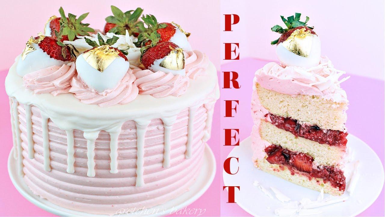 White Chocolate Cake, strawberry filling, white chocolate strawberry buttercream!