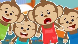 Five Little Monkeys🐵🐒 | 5 Little Monkeys Jumping On The Bed Song | Popular Nursery Rhyme With Lyrics