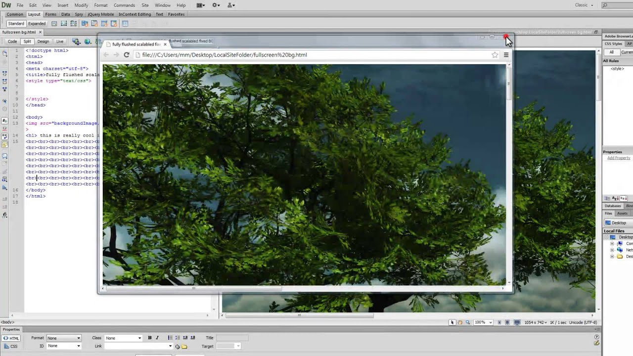 Background image 2 images css - Dreamweaver Tutorial Creating A Full Screen Responsive Background Image Using Css 2 Css3 Youtube