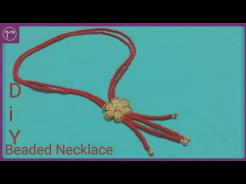 DIY Red Glass Beads Necklace with Metal Connector Pendant | Handmade Jewellery Making