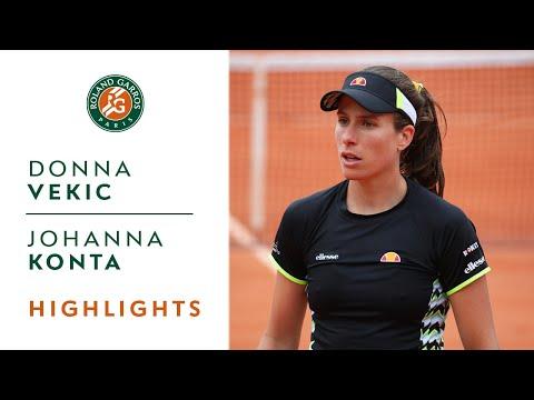Donna Vekic vs Johanna Konta - Round 4 Highlights   Roland-Garros 2019