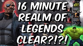 INSANE Realm of Legends 16 MINUTE Speedrun with Rank 5 Nick Fury! - Marvel Contest of Champions