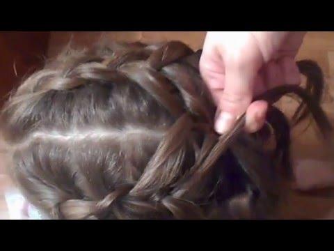 """Прическа для средних и длинных волос для девочек """"Три косы""""!"""
