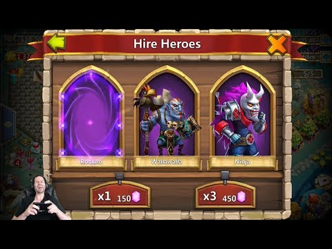 JT's Main 150,000 Gems For Hire Heroes & Win NICE Session ONETIME! Castle Clash