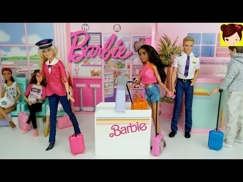 Thumbnail: Barbie Airport and Airplane Playset - Barbie Pilot Doll Stories - Titi Toys