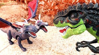 Dinosaur Walking and Laying Eggs Toys Learn Dinosaur With T Rex, Two Heads Dragon, Brachiosaurus