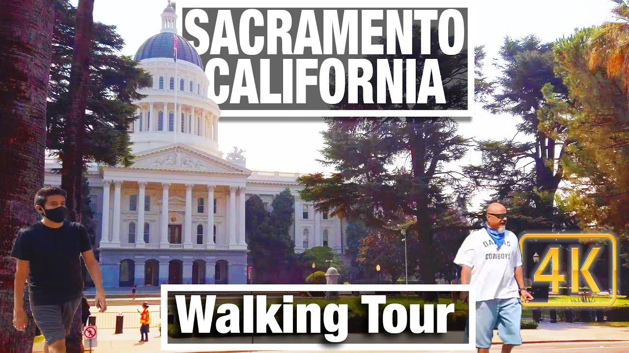 4K City Walks  - Walking Tour Sacramento California - Virtual Travel Walking Treadmill Scenery