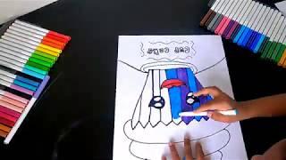 Draw with me  Kids Drawing   Easy cartoon rainbow cupcake   Doodle art ideas