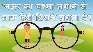 How eyeglasses work to correct our blurred vision? Hindi Video